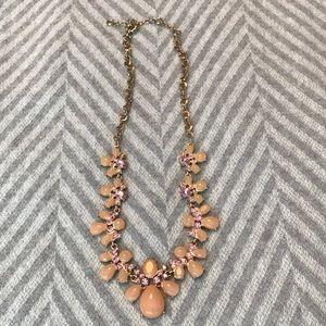 JCrew Statement necklace pink gold peach